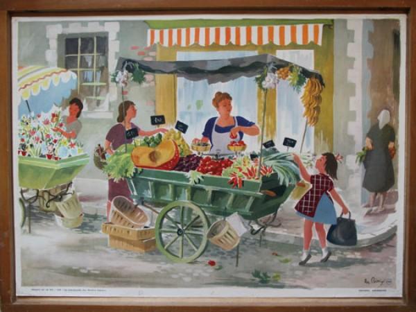 La marchande des quatre saisons, affiche scolaire, édition Bourrelier